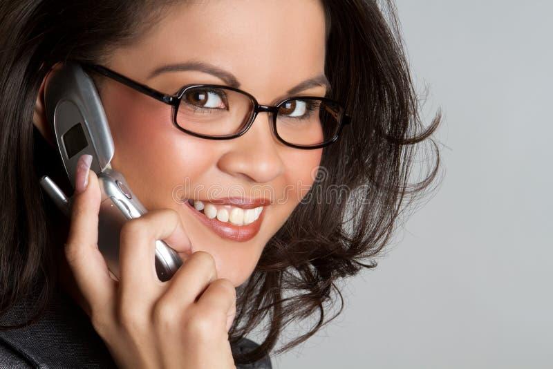 Mulher de negócios do telefone de pilha fotografia de stock royalty free