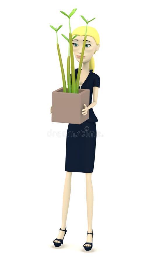 Mulher de negócios dos desenhos animados com planta pequena ilustração royalty free