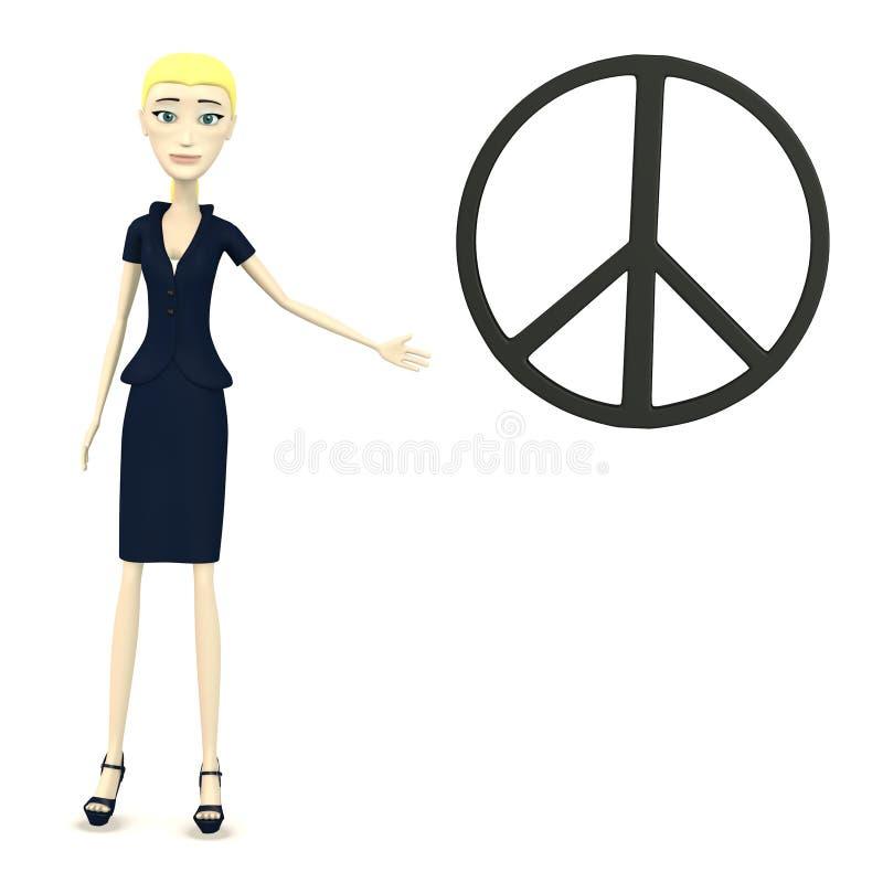 Mulher de negócios dos desenhos animados com símbolo de paz ilustração stock