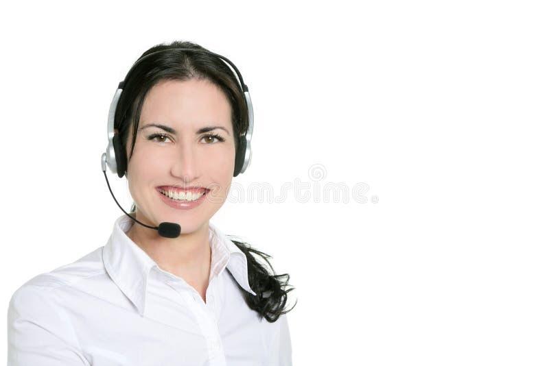 Mulher de negócios e auriculares bonitos triguenhos fotos de stock royalty free