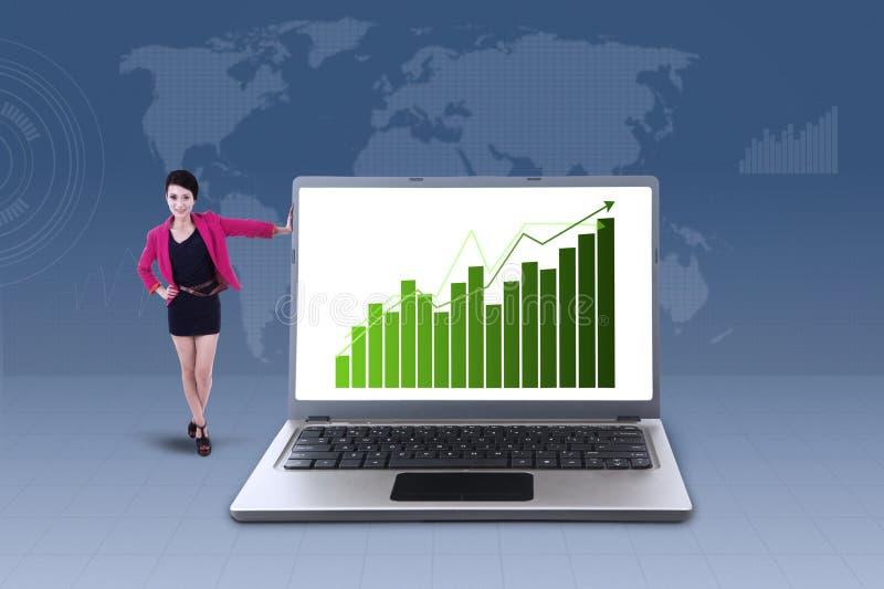 Mulher de negócios e carta de barra do lucro no portátil imagem de stock royalty free
