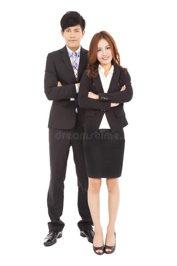 Mulher de negócios e homem de negócios de sorriso fotos de stock