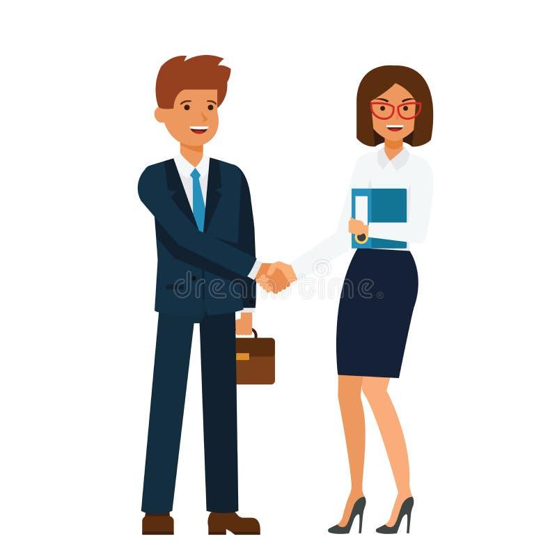 Mulher de negócios e homem de negócios que estão junto e que agitam o conceito liso da ilustração do vetor dos desenhos animados  ilustração royalty free