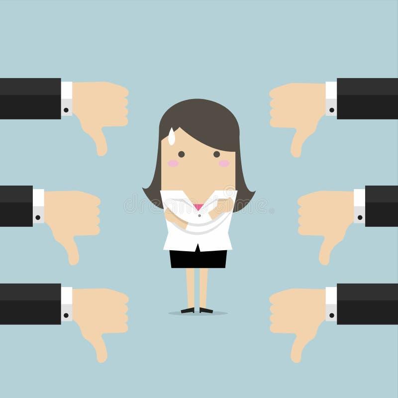 Mulher de negócios e muitas mãos com polegares para baixo Desagrados e conceito da reação negativa ilustração stock