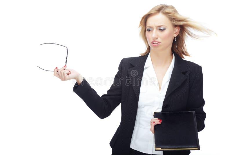 Mulher de negócios e vento imagens de stock