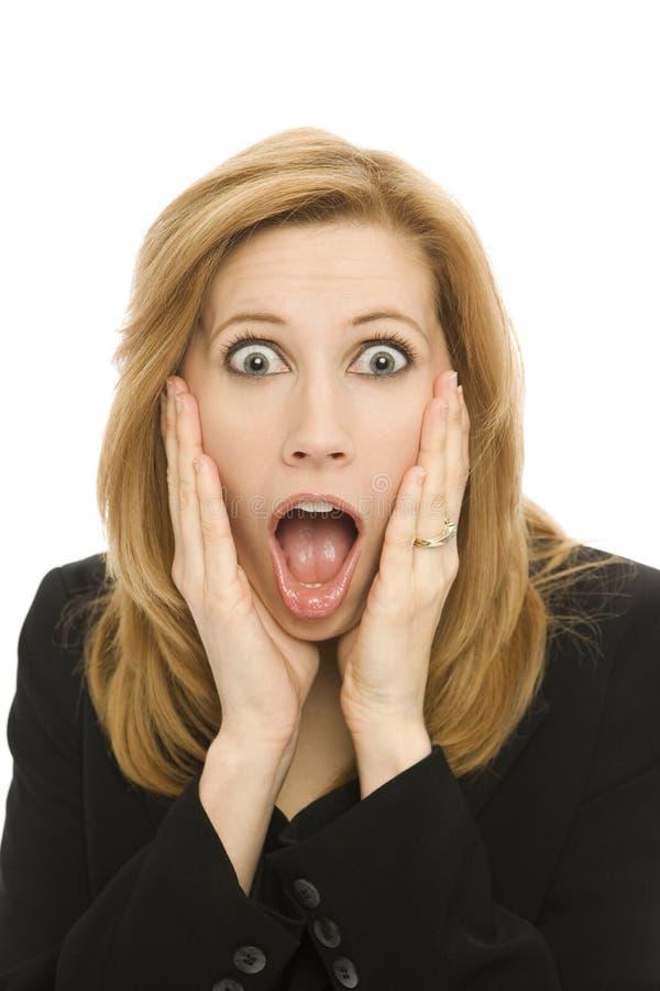 Mulher de negócios em choque fotografia de stock royalty free