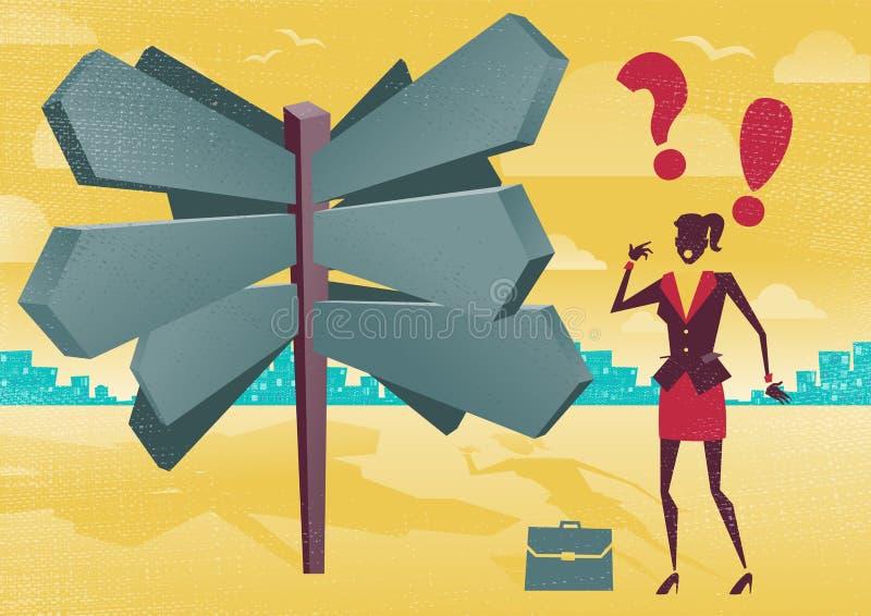 Mulher de negócios em um dilema vazio do cargo de sinal ilustração stock