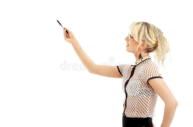Mulher de negócios energética com pena fotos de stock