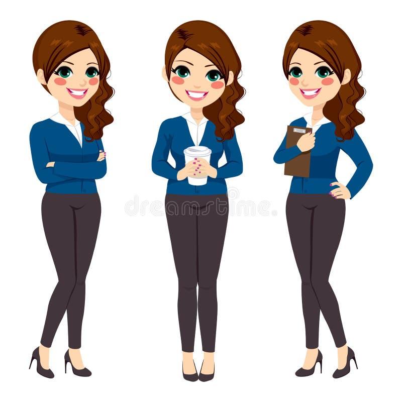 Mulher de negócios ereta Coffee ilustração stock