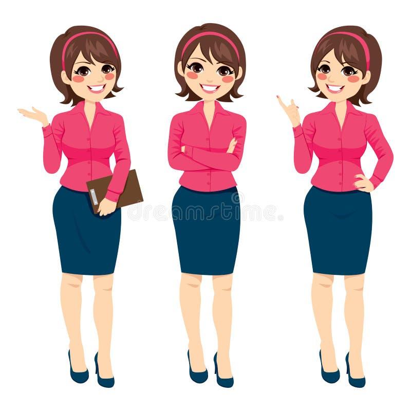 Mulher de negócios ereta Gestures ilustração do vetor