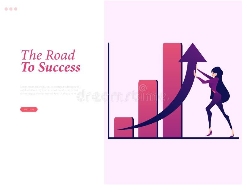 A mulher de negócios está levantando a seta no gráfico ilustração do vetor