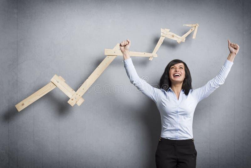Mulher de negócios extático na frente do gráfico de negócio de ascensão fotografia de stock royalty free