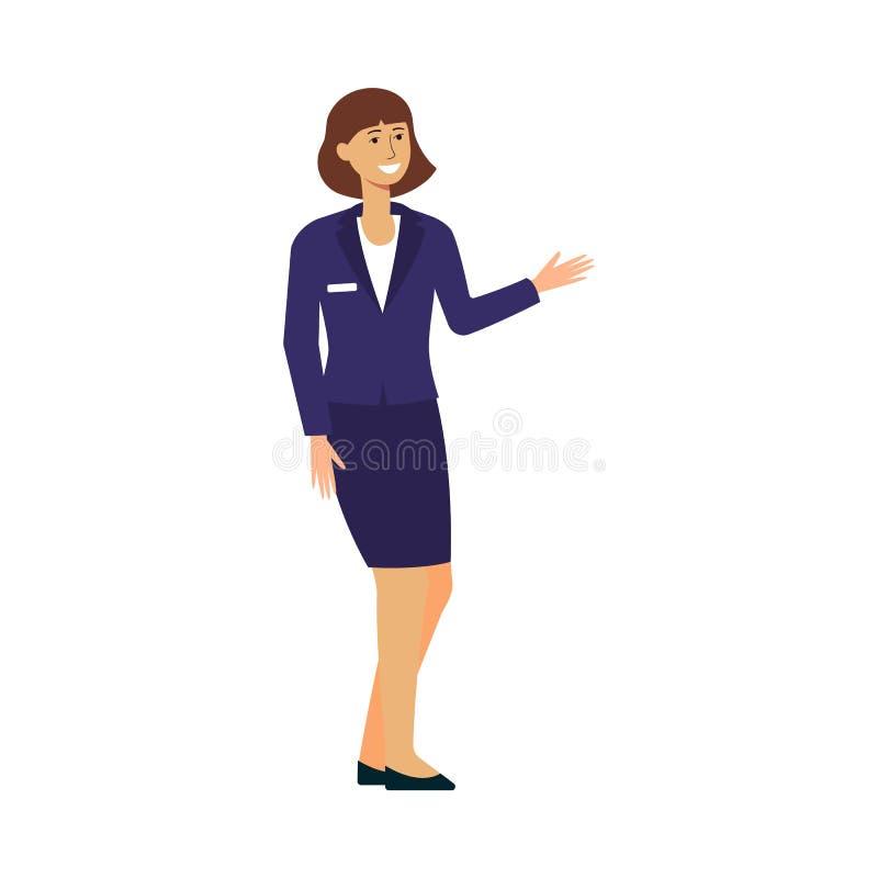 Mulher de negócios fêmea dos desenhos animados no terno do trabalho que está e que sorri ilustração stock