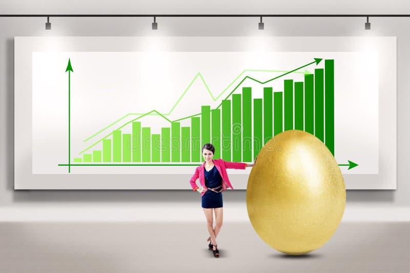 A mulher de negócios faz o lucro grande imagens de stock