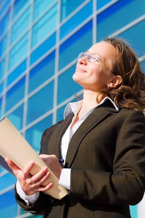 Mulher de negócios feliz. foto de stock
