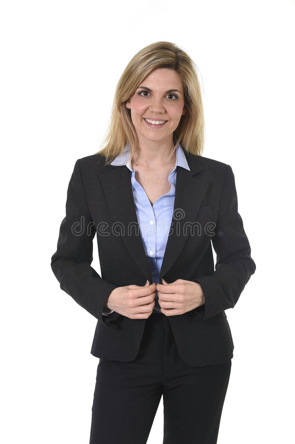 Mulher de negócios feliz atrativa do retrato incorporado que levantam o sorriso seguro e relaxado novos fotografia de stock