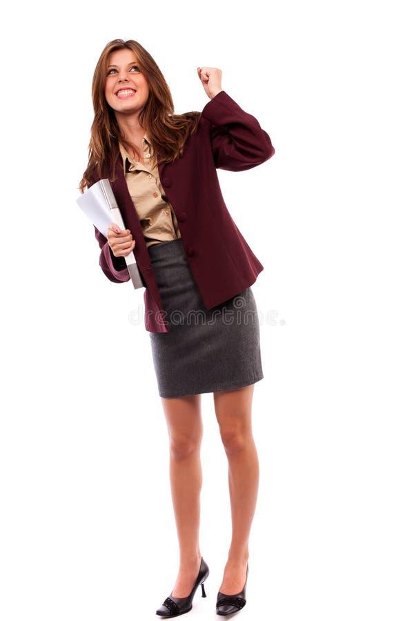 Mulher de negócios feliz isolada no branco imagens de stock royalty free