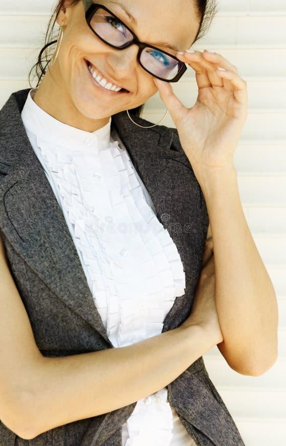 Mulher de negócios feliz nova imagens de stock