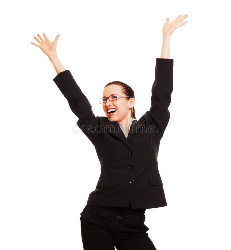 Mulher de negócios feliz nova nos glases imagem de stock royalty free