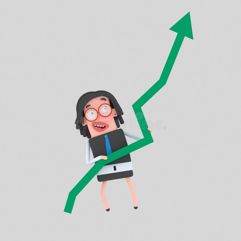 Mulher de negócios feliz que guarda o gráfico do sucesso 3d ilustração royalty free