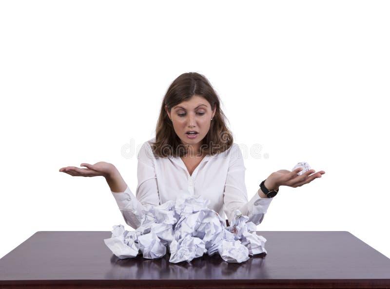 Mulher de negócios forçada Holding Paper Ball fotos de stock