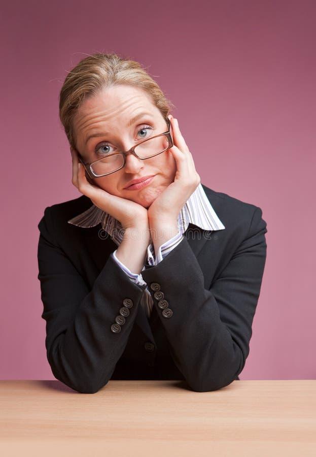 Mulher de negócios furada foto de stock