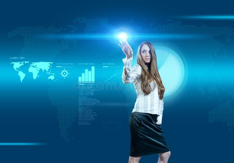 Mulher de negócios futura das soluções do negócio fotos de stock