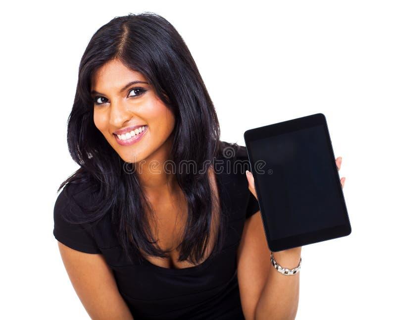 Tabuleta indiana da mulher de negócios imagens de stock
