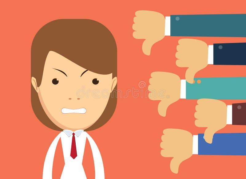 Mulher de negócios irritada e muitas mãos com polegares para baixo Desagrados e conceito da reação negativa ilustração royalty free