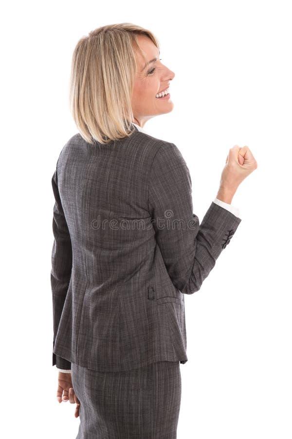 Mulher de negócios isolada bem sucedida e orgulhosa que comemora seu succ imagem de stock