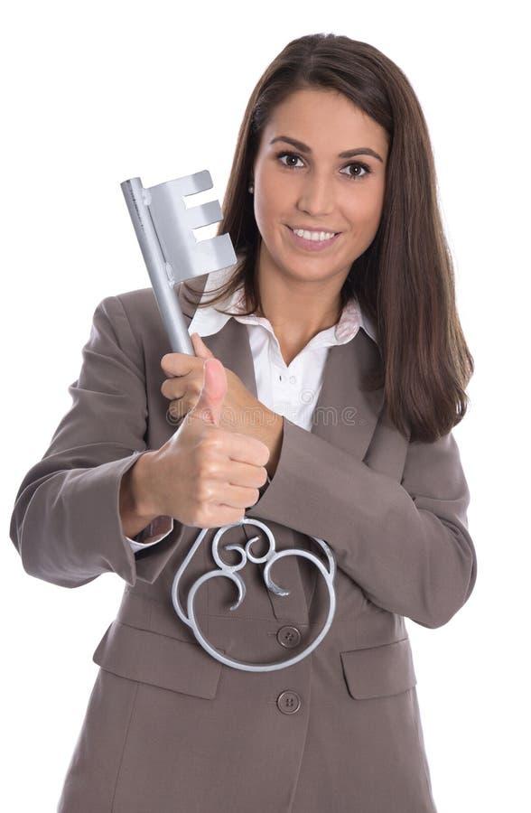 Mulher de negócios isolada bem sucedida sobre a terra arrendada branca do fundo imagem de stock royalty free