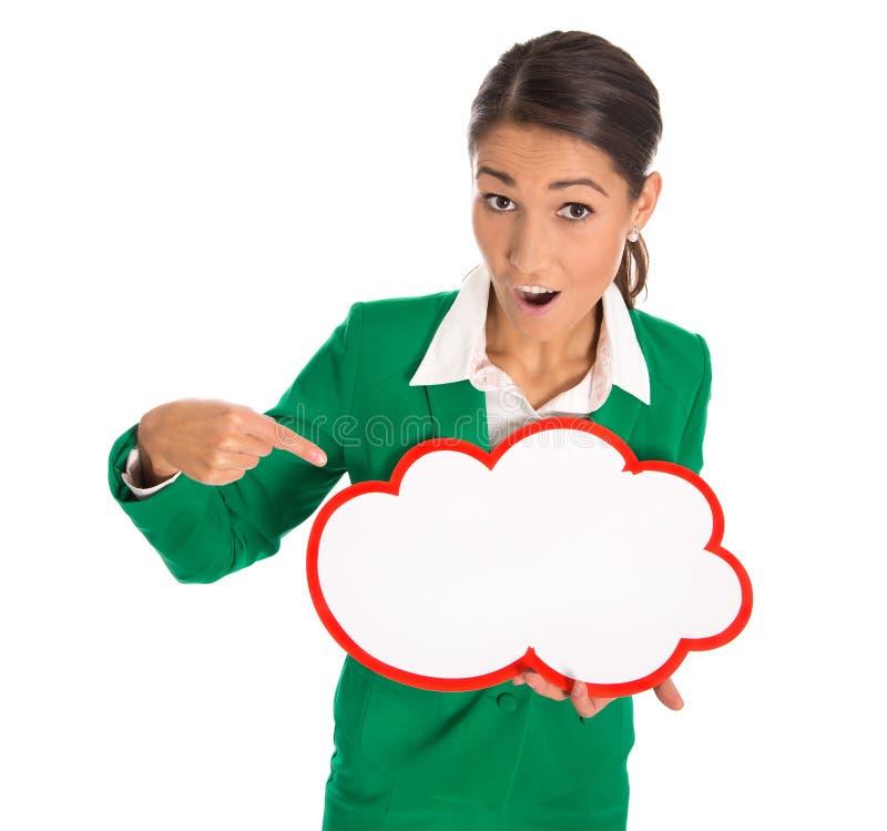 Mulher de negócios isolada em apontar verde em um quadro indicador branco fotografia de stock