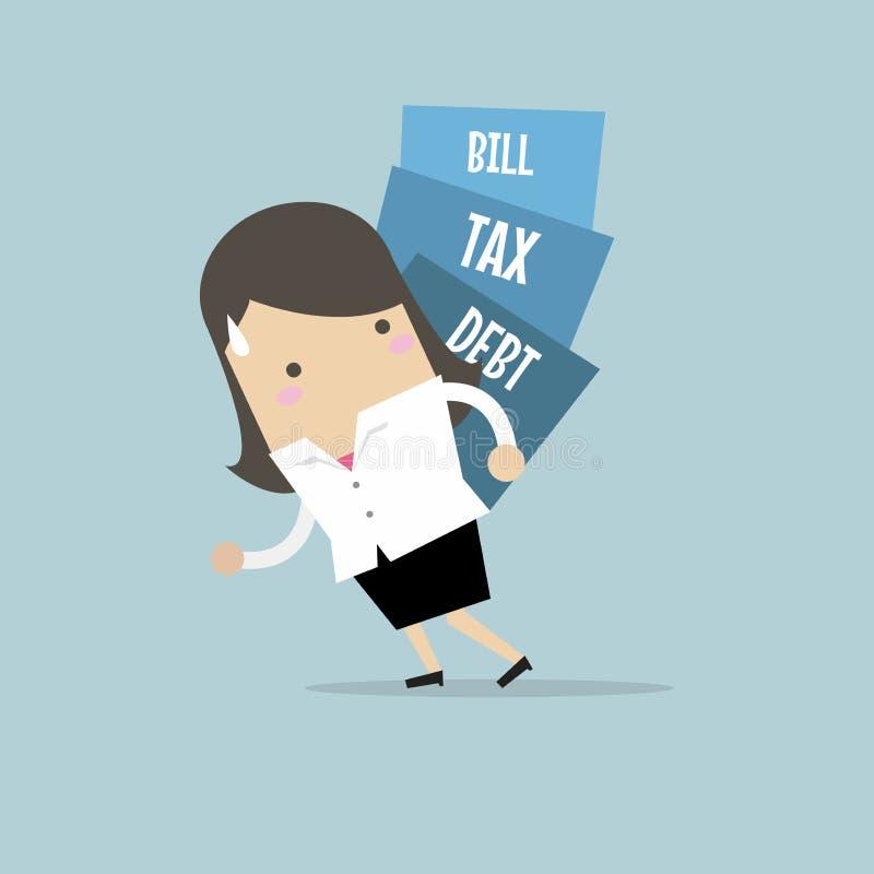 A mulher de negócios leva a pilha do débito, do imposto e da conta ilustração royalty free
