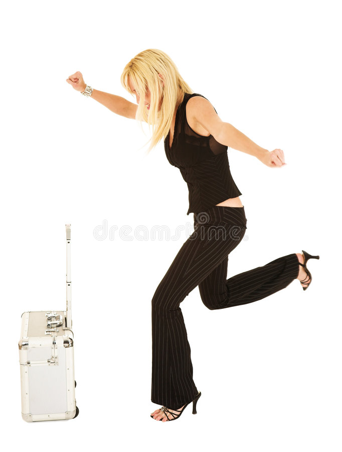 Mulher de negócios loura no preto fotos de stock