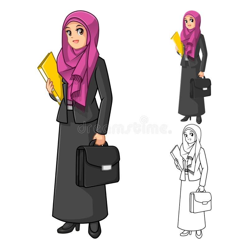 Mulher de negócios muçulmana Wearing Fuchsia Veil ou lenço com guardar a pasta ilustração royalty free