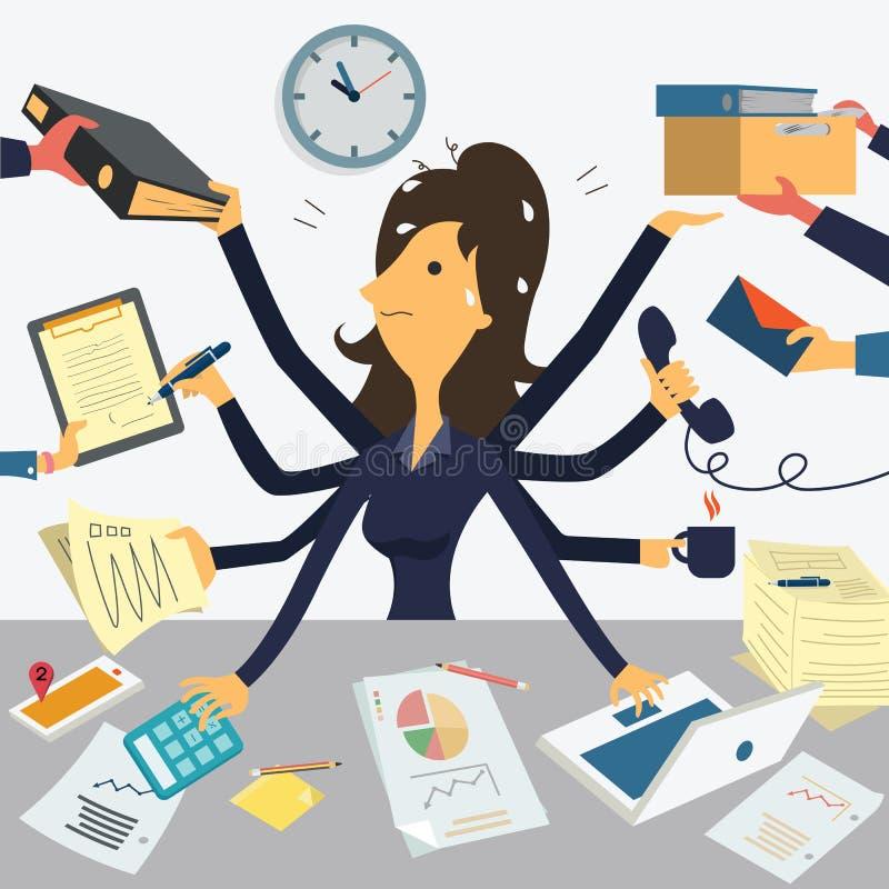 Mulher de negócios muito ocupada ilustração royalty free