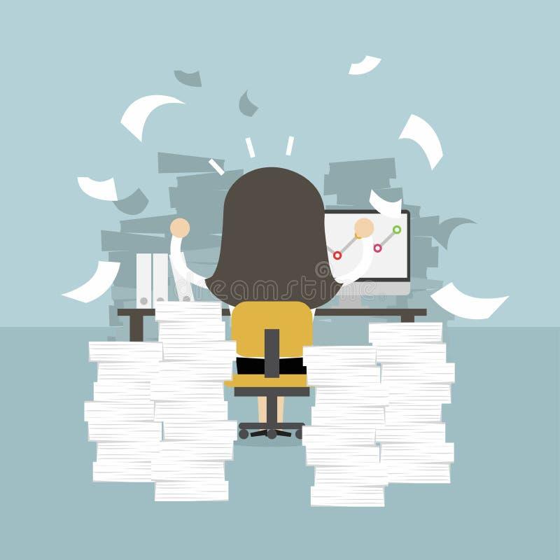 Mulher de negócios muito ocupada na tabela do escritório Conceito duro do trabalho ilustração royalty free