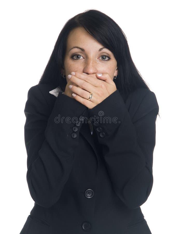 Mulher de negócios - não fale nenhum mal imagens de stock royalty free