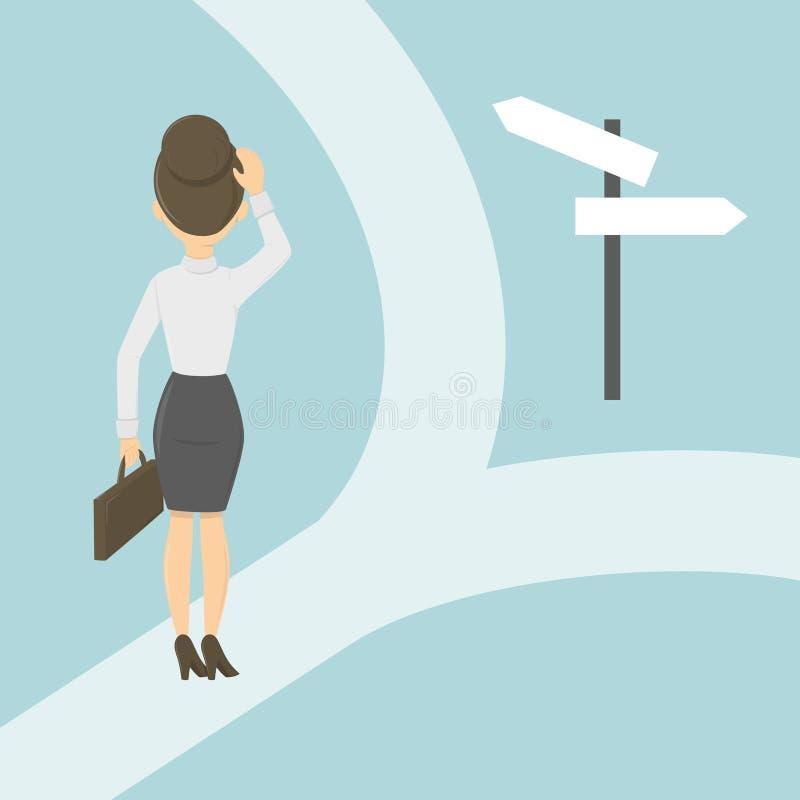 Mulher de negócios nas estradas transversaas ilustração stock