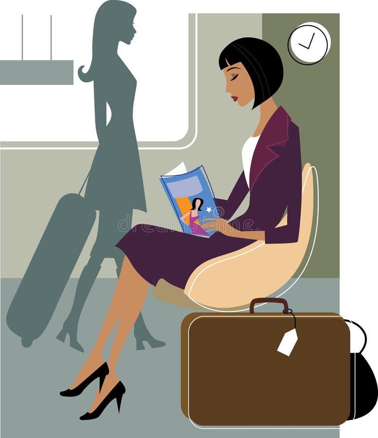 Mulher de negócios no aeroporto ilustração royalty free