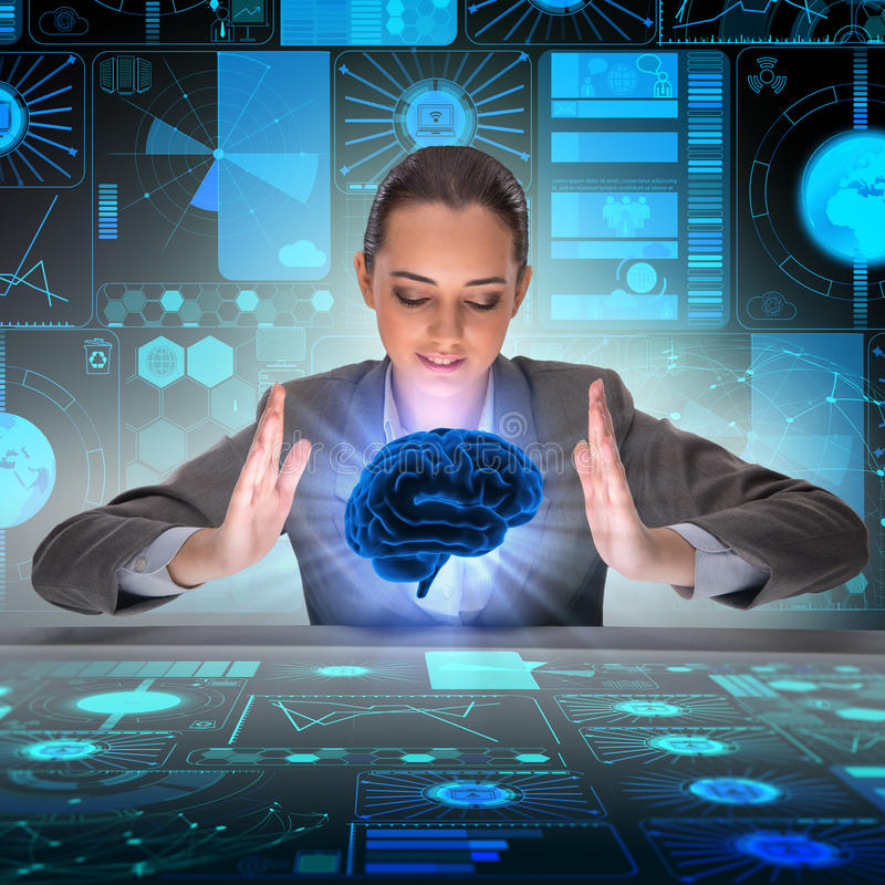 A mulher de negócios no conceito da inteligência artificial fotos de stock royalty free