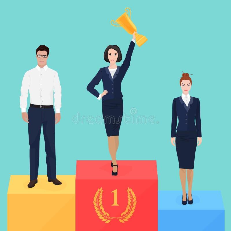 Mulher de negócios no conceito do pódio da vitória Campeão bem sucedido do negócio ilustração do vetor
