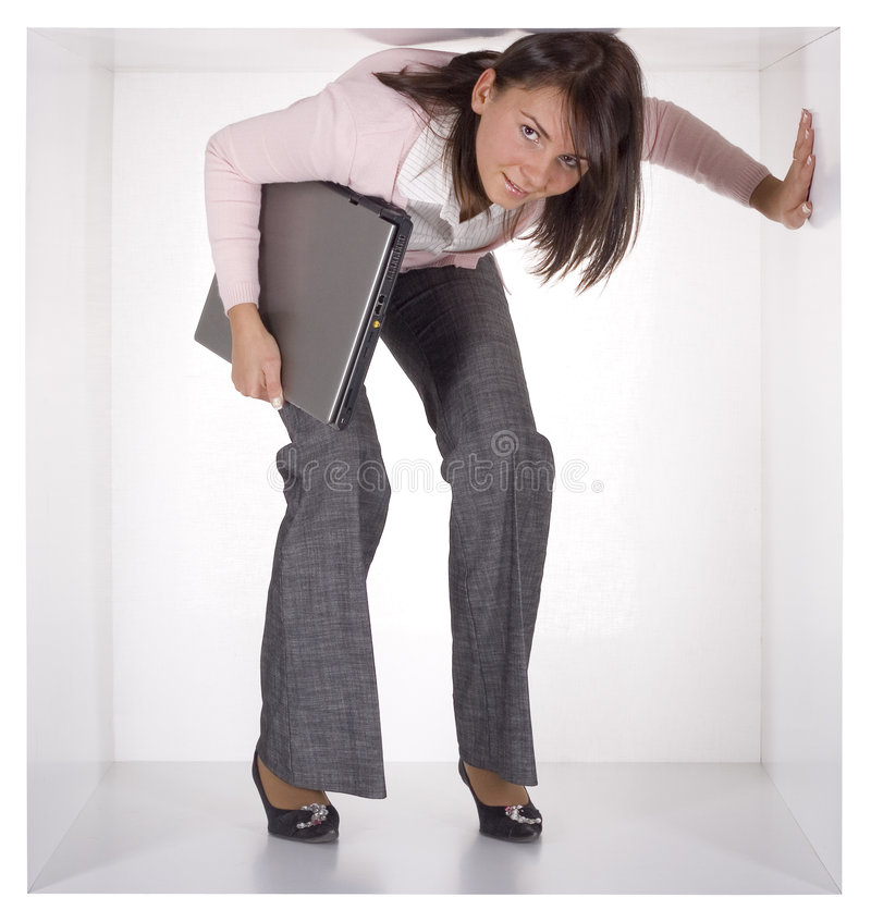 Mulher de negócios no cubo imagens de stock