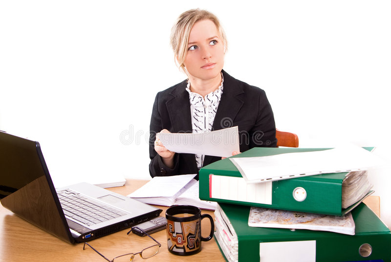 Mulher de negócios no escritório fotografia de stock