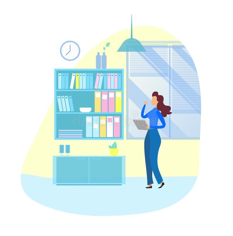 Mulher de negócios no escritório que procura o caso do documento ilustração royalty free