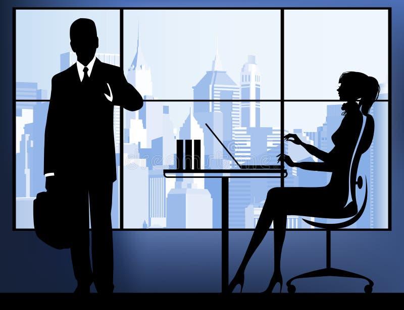 Mulher de negócios no fundo urbano. ilustração do vetor