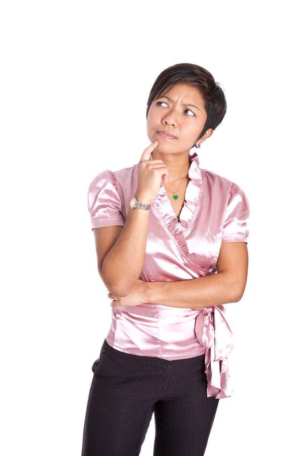 Mulher de negócios no gesto de pensamento imagens de stock royalty free