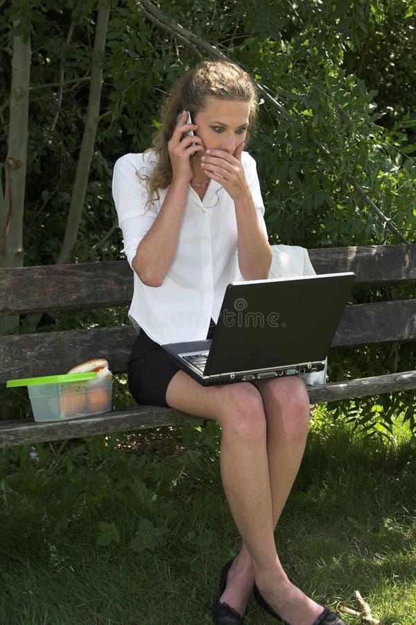 Mulher de negócios no parque; choque fotos de stock