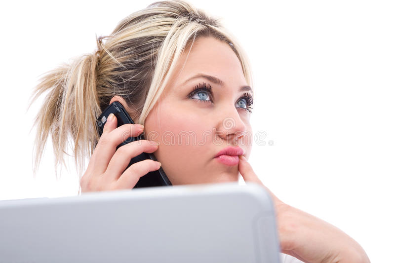 Mulher de negócios no telefone fotografia de stock