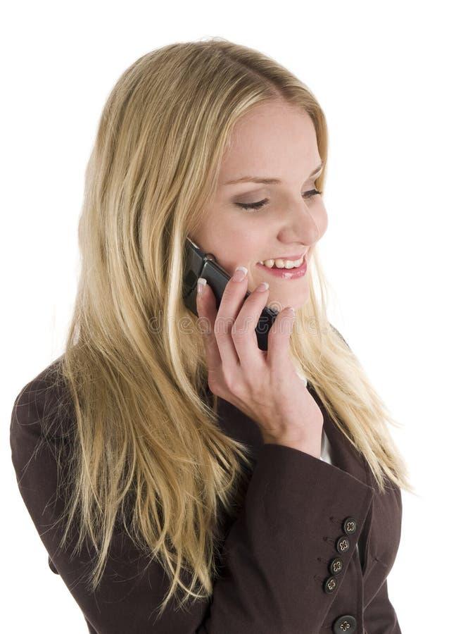 Mulher de negócios no telefone de pilha fotos de stock royalty free